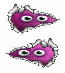 SMALL Long Pair Ripped Metal Design With Cute Peeping PINK Monster Vinyl Car Sticker 73x41mm